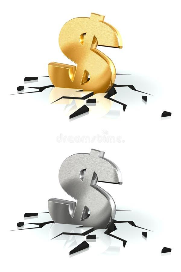 Авария доллара иллюстрация вектора