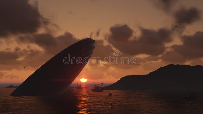 Авария UFO в море бесплатная иллюстрация