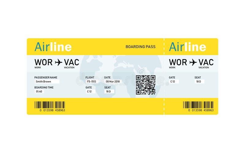 Авиабилет самолетом с текстом иллюстрация вектора
