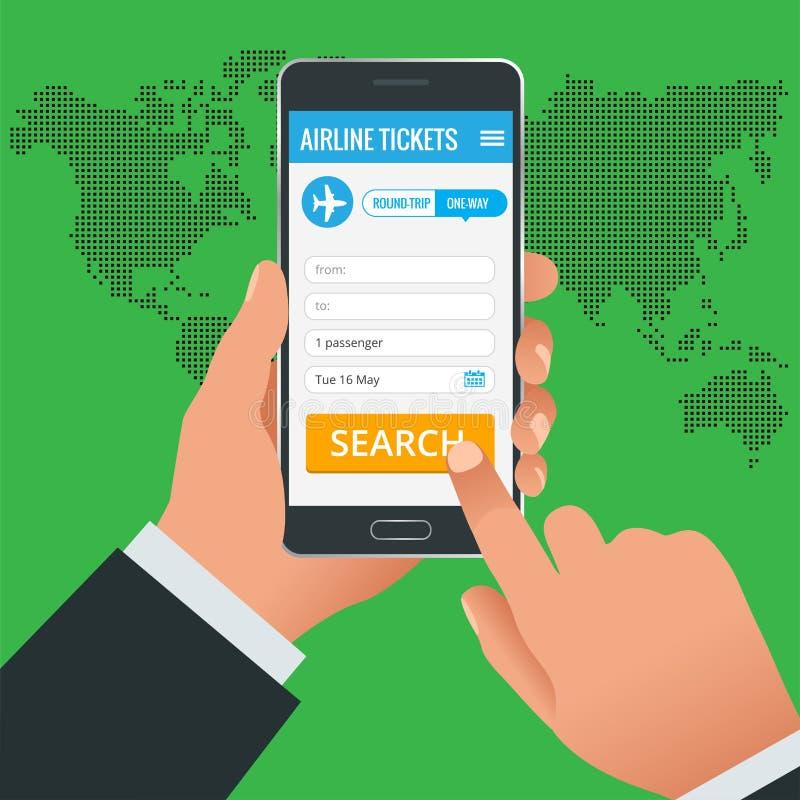 Авиабилеты записывая онлайн концепцию телефона app Запишите ваш билет онлайн и оплатите количество на везде в мире иллюстрация штока