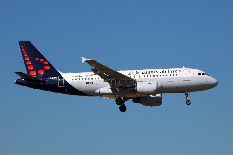 Авиакомпании Эрбас A319 Брюссель стоковое изображение