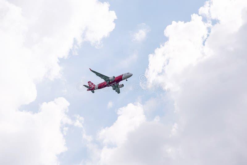 Авиакомпания БАНГКОКА, ТАИЛАНДА - Тайск-Air Asia -го в ОКТЯБРЯ 24,2017 недорогая стоковая фотография rf