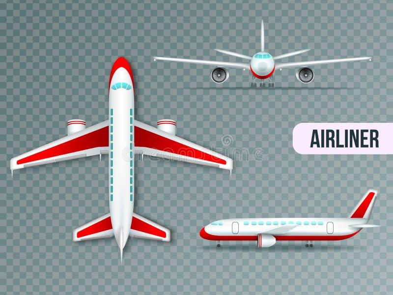 Авиалайнер осматривает реалистический комплект иллюстрация вектора