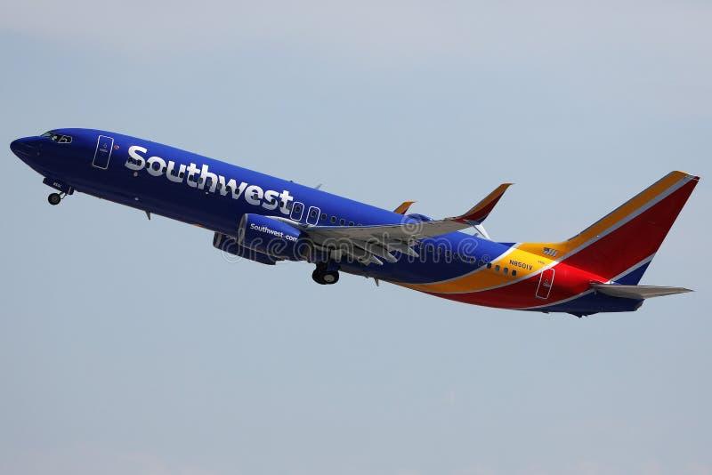 Авиалинии Юго-Запада вылетают из аэропорта Лас-Вегаса стоковые изображения rf