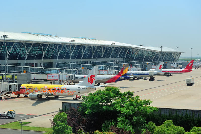 Авиапорт Китая Шанхай Pudong стоковое фото rf
