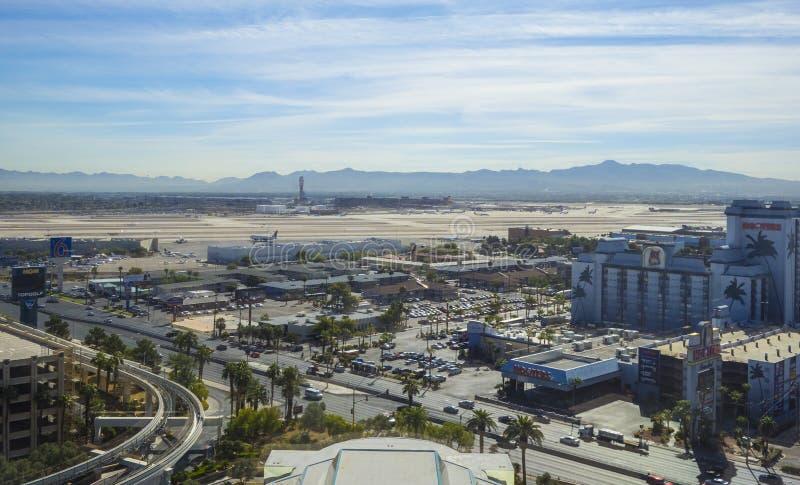 Авиапорт Лас-Вегас McCarran - вид с воздуха - ЛАС-ВЕГАС - НЕВАДА - 12-ое октября 2017 стоковое изображение