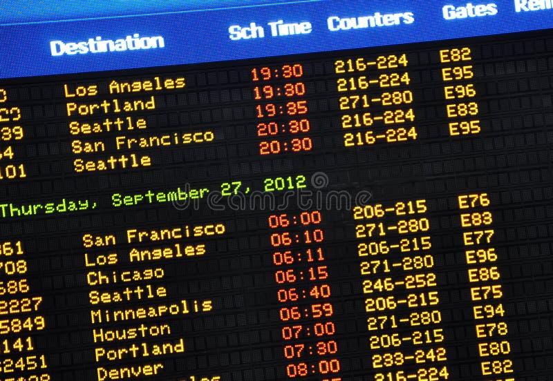Авиапорт приезжает доска стоковое фото rf