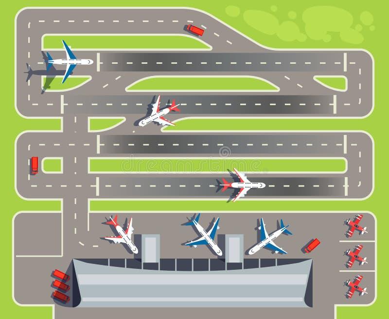 Авиапорт с пассажирским терминалом, самолетами, иллюстрацией вектора взгляд сверху вертолетов иллюстрация штока