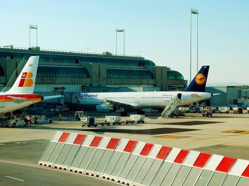 Авиапорт Fiumicino - первый авиапорт города Рима 1-ого июня 2014 стоковые фото