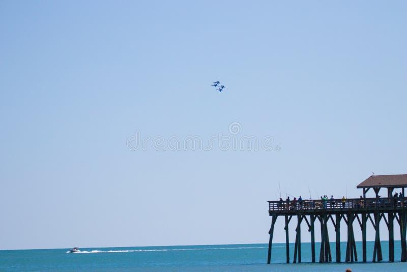 Авиасалон Myrtle Beach Южной Каролины с голубыми ангелами стоковое изображение rf