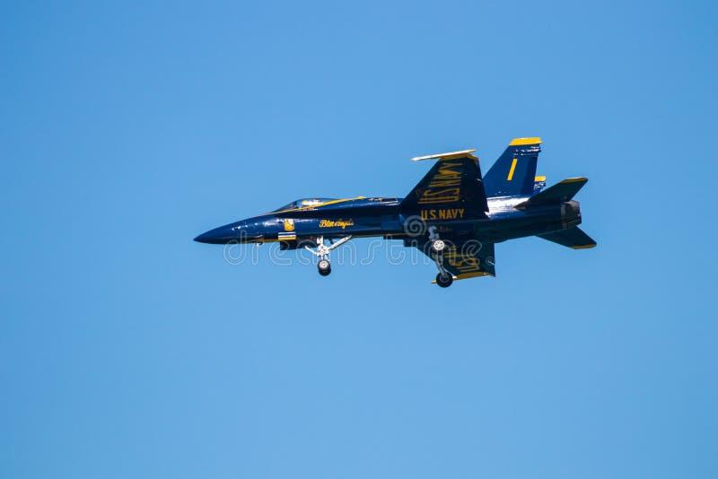 Авиасалон Myrtle Beach Южной Каролины с голубыми ангелами стоковое фото rf