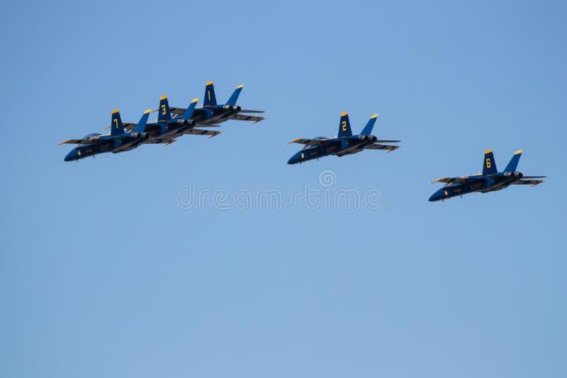 Авиасалон Myrtle Beach Южной Каролины с голубыми ангелами стоковые фотографии rf