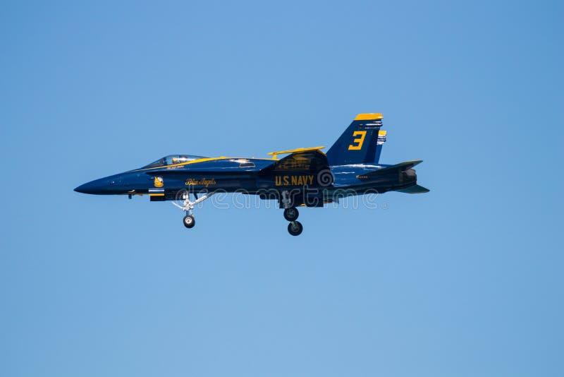 Авиасалон Myrtle Beach Южной Каролины с голубыми ангелами стоковые изображения