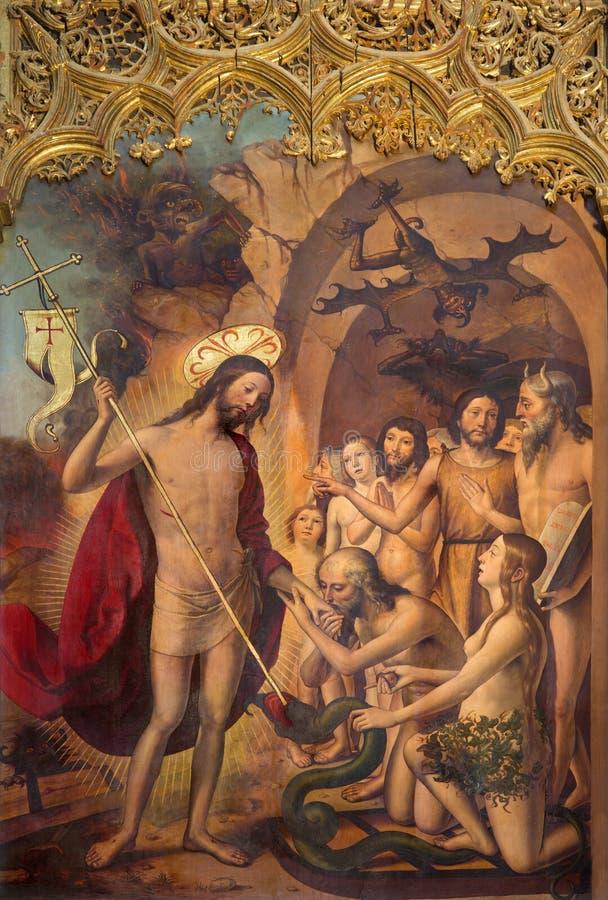 АВИЛА, ИСПАНИЯ, 2016: Картина воскрешенного christ в заточении с Адамом и Ева и патриарх стоковое фото