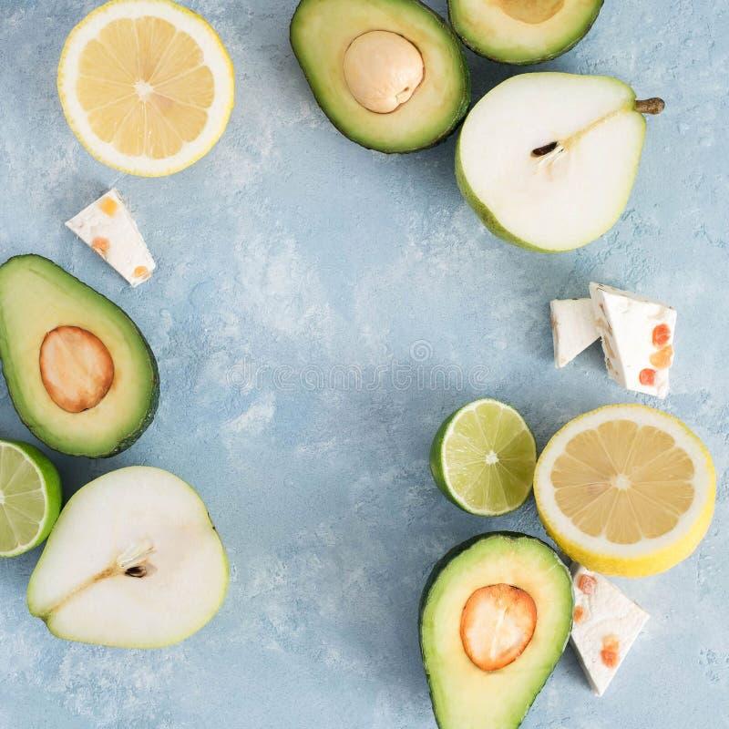 Авокадо, груша, известка и нуга стоковое фото rf