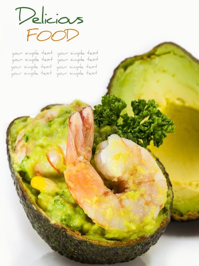 Авокадо с салатом креветок стоковые фотографии rf