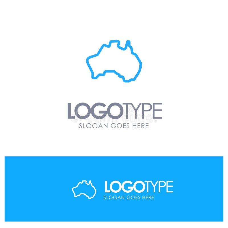 Австралиец, страна, положение, карта, место логотипа плана перемещения голубое для слогана иллюстрация штока