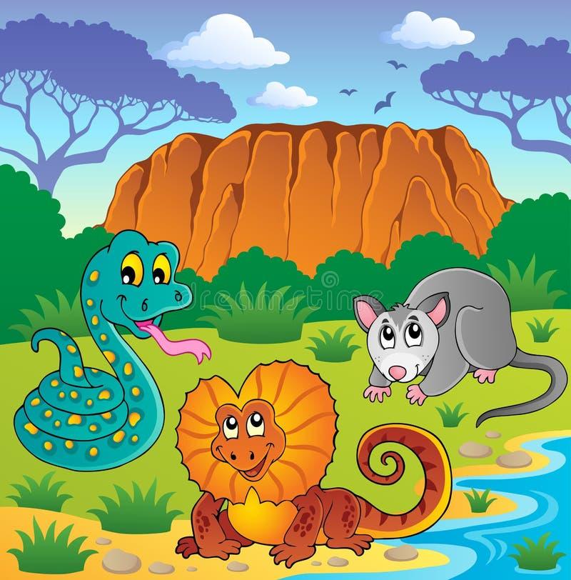 Австралийская тема 6 животных бесплатная иллюстрация