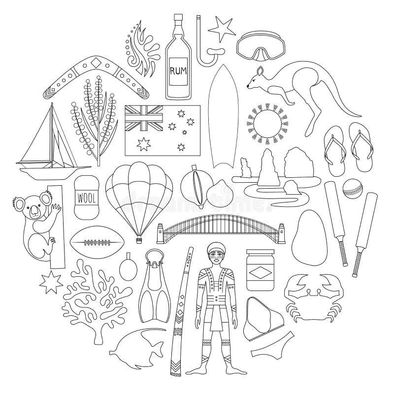 Австралийские значки вектора Контур, ход, стиль плана иллюстрация штока