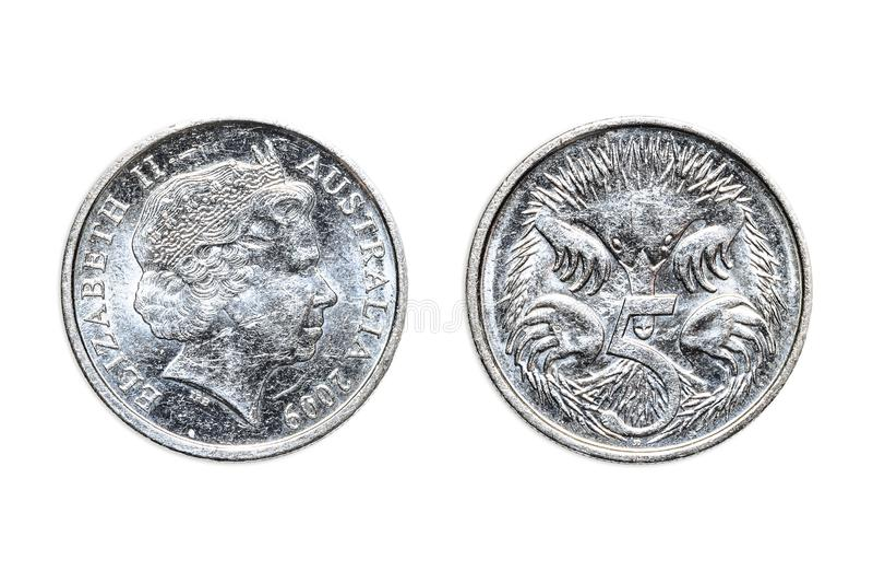 Австралийский двойник 5 центов стоковые фотографии rf