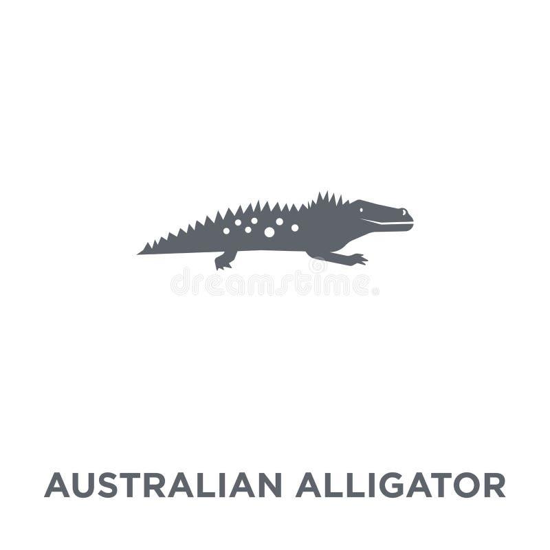 Австралийский значок аллигатора от собрания Австралии иллюстрация вектора
