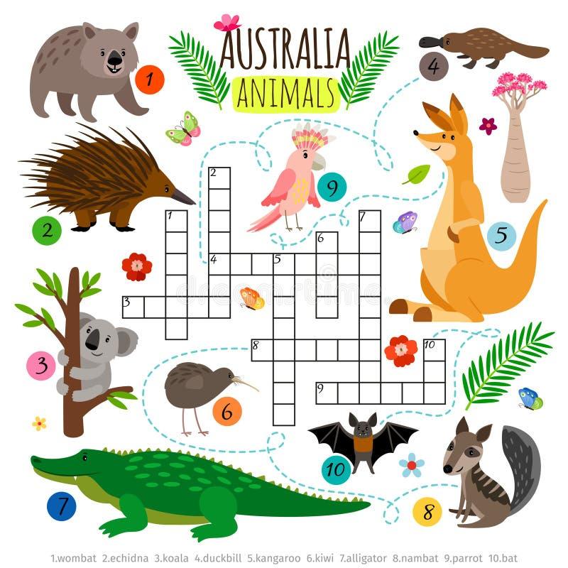 Австралийский кроссворд животных Дети формулируют головоломку, игру вектора головоломки поиска слова иллюстрация штока