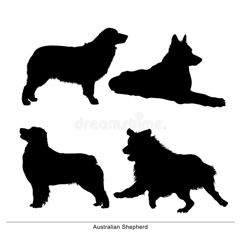 австралийский чабан Собака сидит, позиция, лежит, бега, стойки иллюстрация вектора