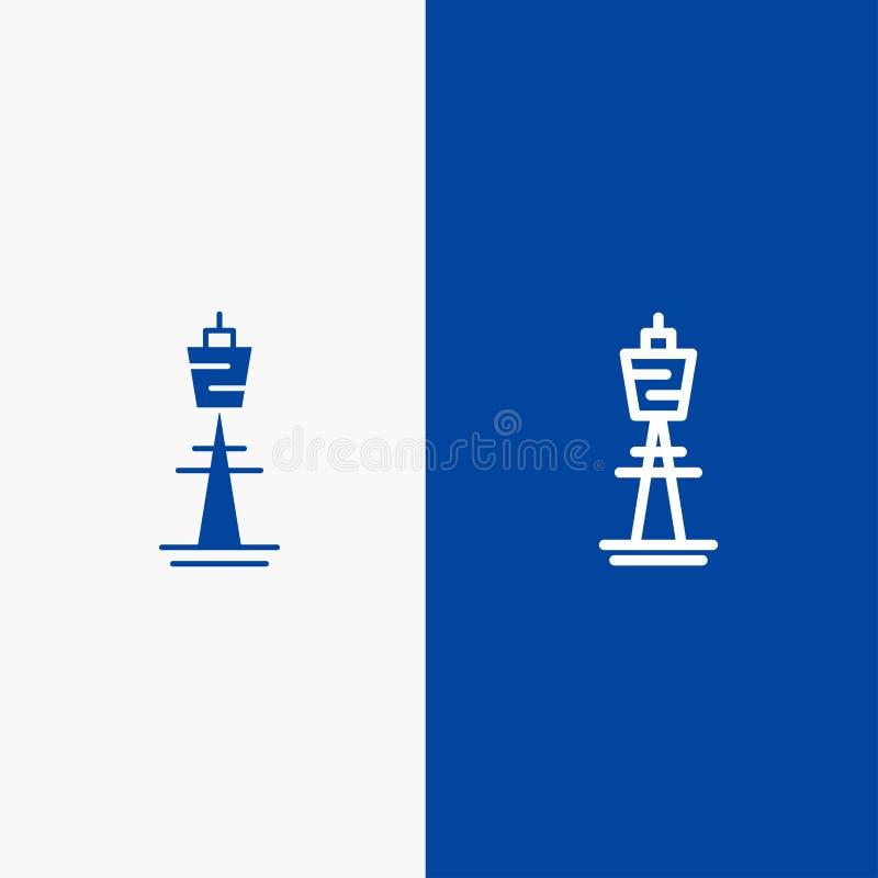 Австралия, австралиец, здание, Сидней, башня, башня ТВ значка линии и глифа знамени твердого значка линии и глифа синь голубого т иллюстрация штока