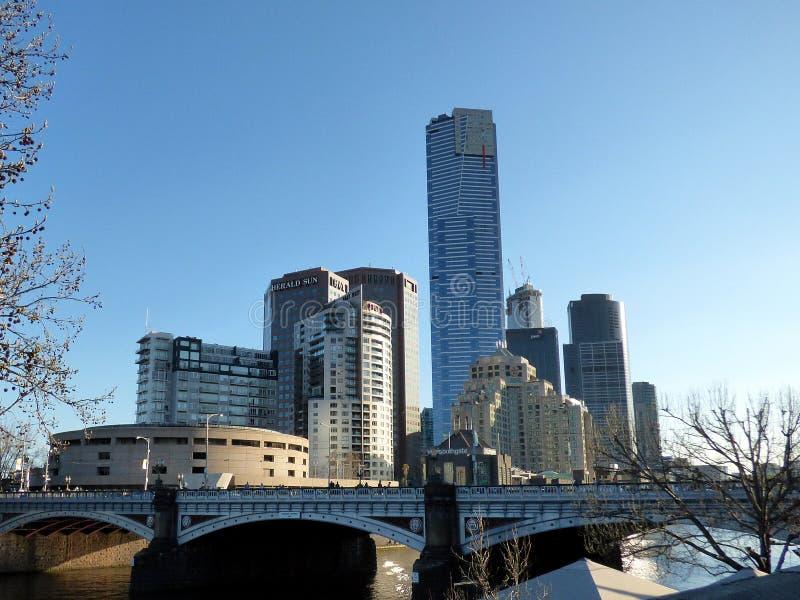 Австралия, Мельбурн, взгляд горизонта, реки стоковые фотографии rf