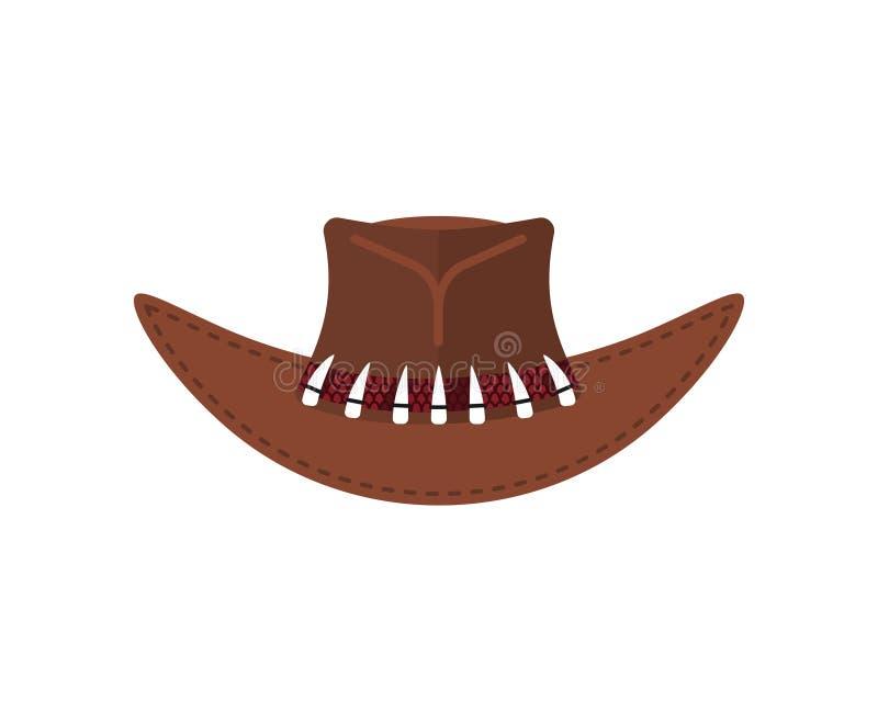 Австралийская крышка охотника крокодила Изолированная шляпа ковбоя коричневая иллюстрация вектора