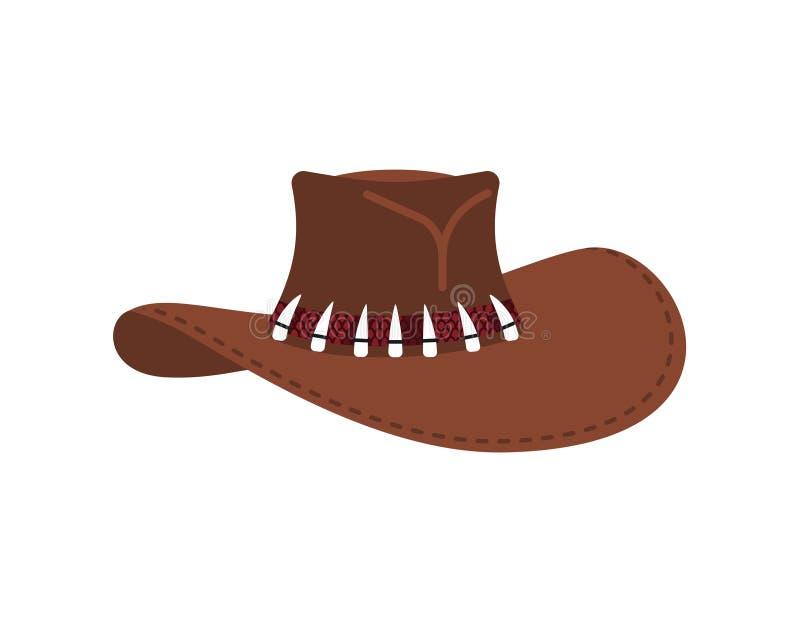 Австралийская крышка охотника крокодила Изолированная шляпа ковбоя коричневая иллюстрация штока
