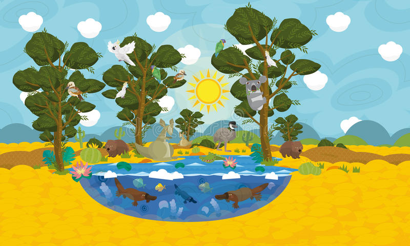 Австралийская сцена животных бесплатная иллюстрация