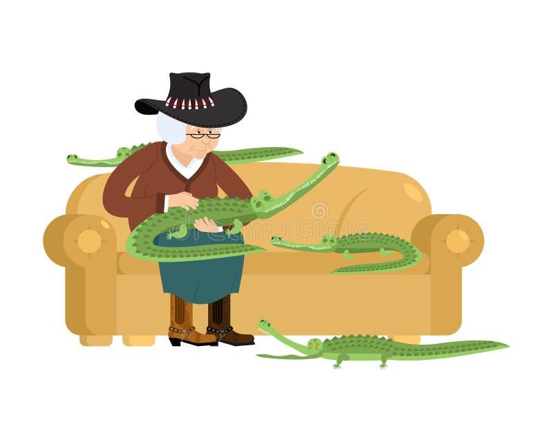 Австралийские бабушка и крокодил Старуха Австралии и бесплатная иллюстрация