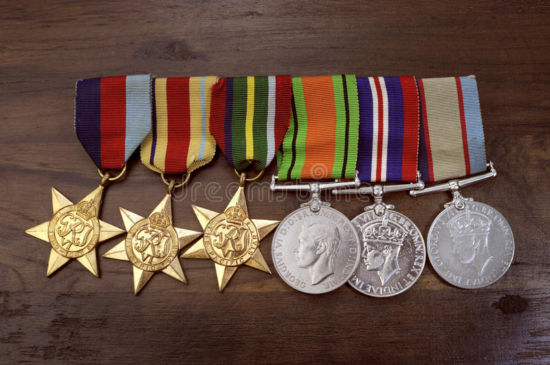 Австралийские медали кампании Второй Мировой Войны армии стоковые изображения