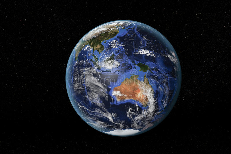 Австралия и Юго-Восточная Азия от космоса стоковые изображения rf