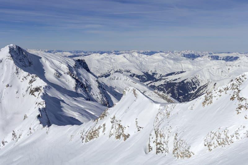 Австриец Альп в зиме Высокогорный ландшафт горы Альп на Tirol, верхней части Европы стоковое изображение