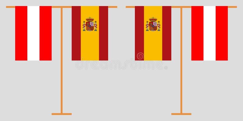 Австрийские и испанские вертикальные флаги иллюстрация штока