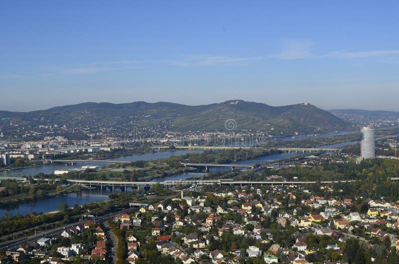 Австрия, вена с Дунаем, видом с воздуха стоковая фотография rf