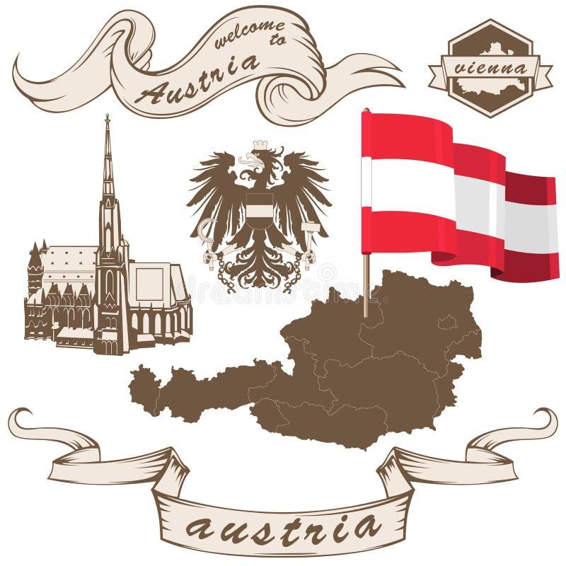 Австрия в винтажном стиле иллюстрация вектора