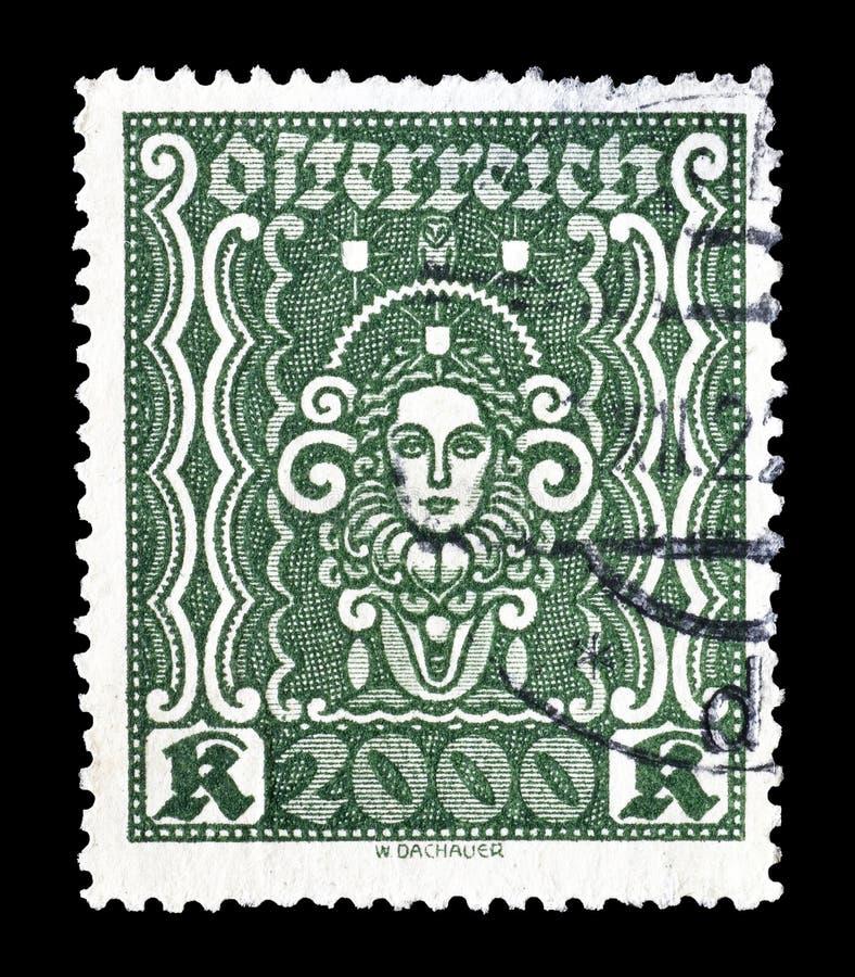 Австрия на печатях почтового сбора стоковое изображение