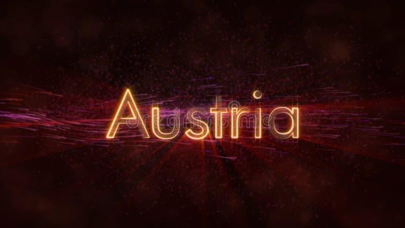 Австрия - сияющий текст имени страны иллюстрация штока