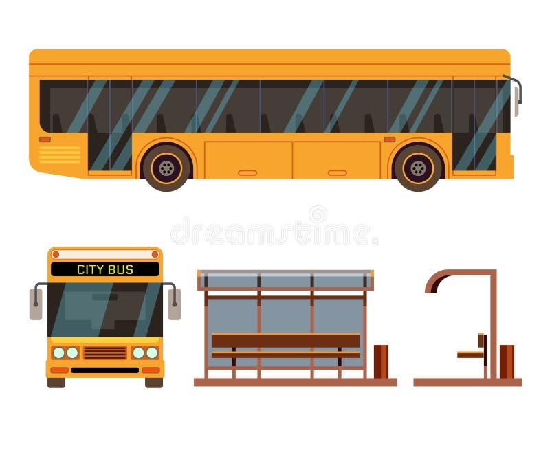 Автобусная остановка в положениях стороны и вид спереди иллюстрация штока