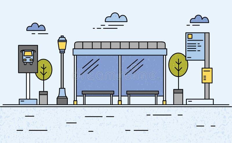 Автобусная остановка, уличный свет, расписание общественного транспорта и информация для пассажиров иллюстрация вектора
