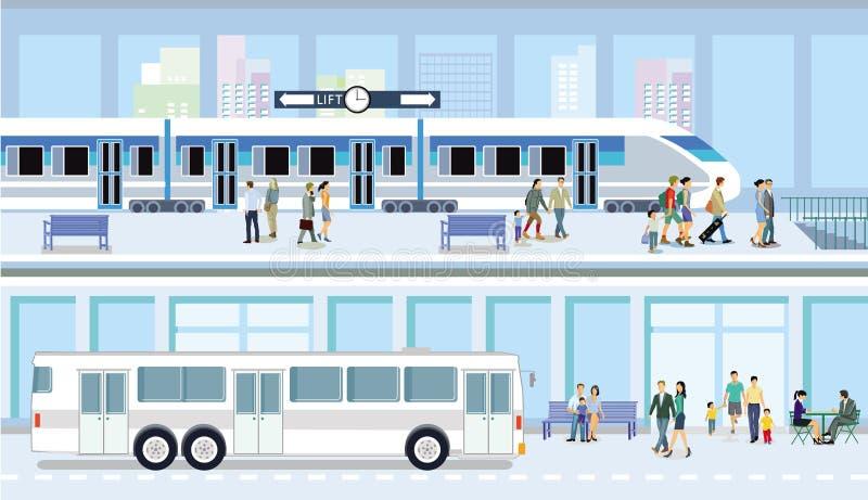 Автобус и поезд общественного транспорта иллюстрация штока