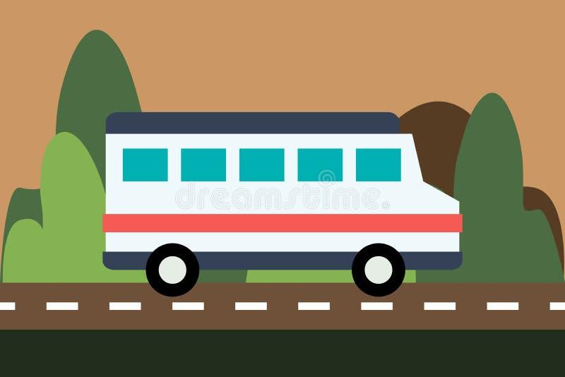 Автобус управляет на дороге на предпосылке природы иллюстрация вектора