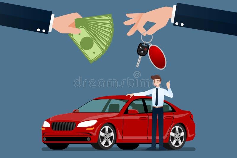 Автодилер делает обмен между автомобилем и деньгами клиента иллюстрация вектора