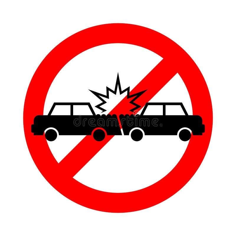 Автокатастрофа стопа Автомобили аварии запрета Символ развалины транспорта иллюстрация штока