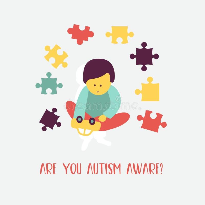 автоклава Эмблема синдрома аутизма в детях Childr иллюстрация вектора