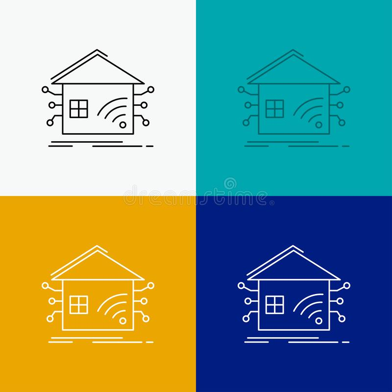 Автоматизация, дом, дом, умный, значок сети над различной предпосылкой r r иллюстрация штока