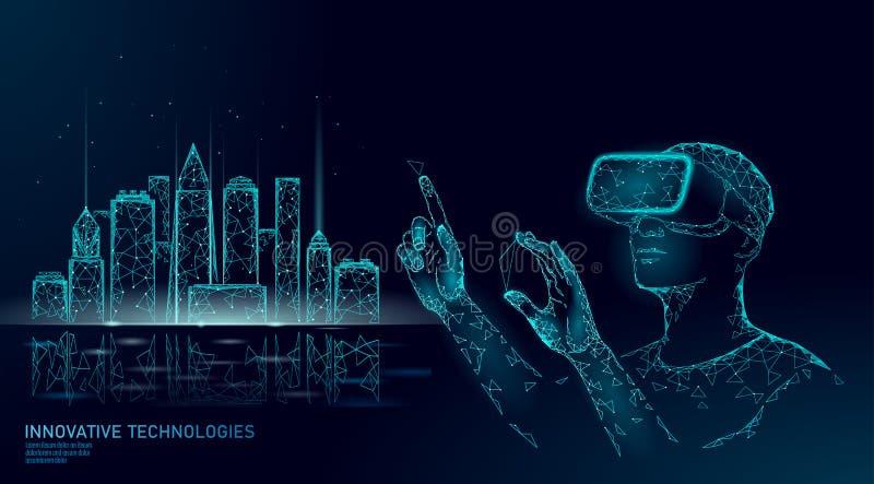 Автоматизация низкого поли умного города умная строя Реальность VR увеличенная шлемом визуализирует концепцию творения иллюстрация вектора